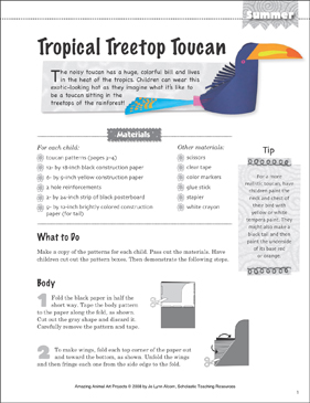 Tropical Treetop Toucan: Animal Art Project - Printable Worksheet