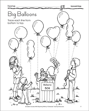 Big Balloons: Learning to Draw Upward Lines - Printable Worksheet