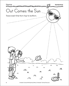 Out Comes the Sun (Slanted Lines) - Printable Worksheet