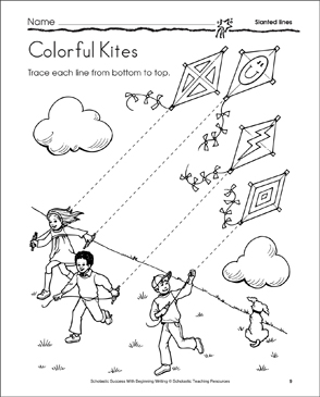 Colorful Kites (Slanted Lines) - Printable Worksheet
