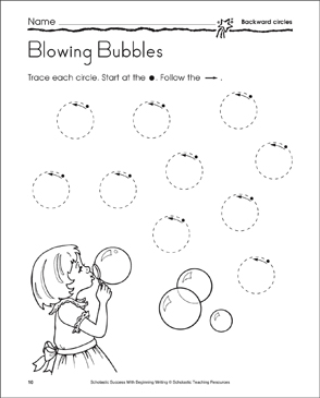 Blowing Bubbles: Learning to Draw Backward Circles - Printable Worksheet