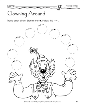 Clowning Around: Learning to Draw Circles - Printable Worksheet