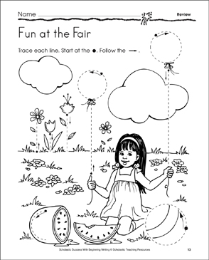 Fun at the Fair: Learning to Draw Lines and Curves (Review) - Printable Worksheet
