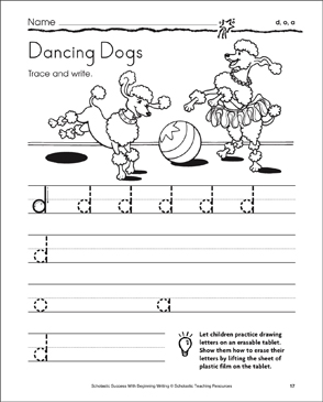 Dancing Dogs - d, o, a (Tracing and Writing Lowercase Letters) - Printable Worksheet