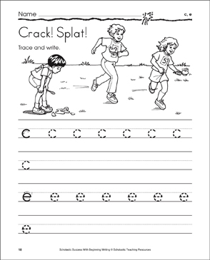 Crack! Splat! (lowercase c, e) - Printable Worksheet