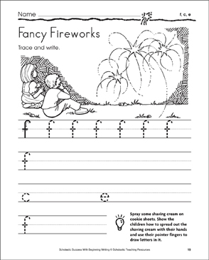 Fancy Fireworks - f, c, e (Tracing and Writing Lowercase Letters) - Printable Worksheet