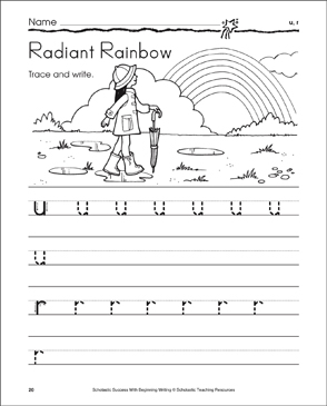 Radiant Rainbow - u, r (Tracing and Writing Lowercase Letters) - Printable Worksheet
