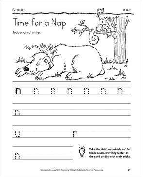 Time for a Nap (lowercase n, u, r) - Printable Worksheet