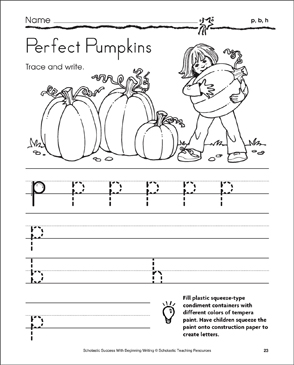 Perfect Pumpkins - p, b, h (Tracing and Writing Lowercase Letters) - Printable Worksheet