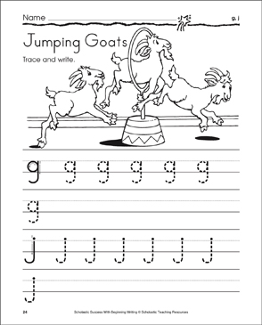 Jumping Goats - g, j (Tracing and Writing Lowercase Letters) - Printable Worksheet