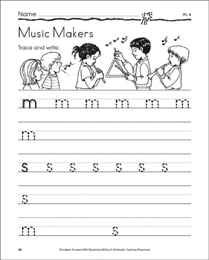 Music Makers - m, s (Tracing and Writing Lowercase Letters) - Printable Worksheet