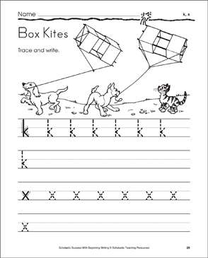 Box Kites - k, x (Tracing and Writing Lowercase Letters) - Printable Worksheet