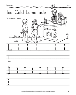Ice-Cold Lemonade - L, l (Tracing and Writing Letters) - Printable Worksheet