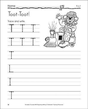 Toot-Toot! (Uppercase T, L, I) - Printable Worksheet