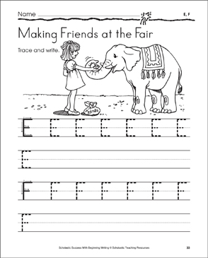Making Friends at the Fair - E, F (Tracing and Writing Uppercase Letters) - Printable Worksheet