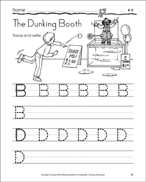 The Dunking Booth - B, D: Tracing and Writing Uppercase Letters - Printable Worksheet