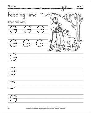 Feeding Time - G, B, D (Tracing and Writing Uppercase Letters) - Printable Worksheet