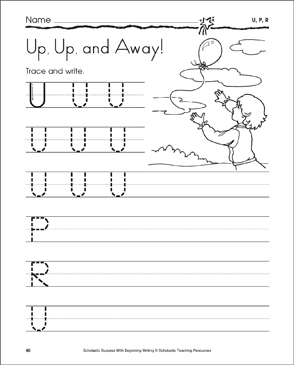 Up, Up, and Away! - U, P, R (Tracing and Writing Uppercase Letters) - Printable Worksheet