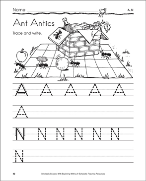 Ant Antics - A, N (Tracing and Writing Uppercase Letters) - Printable Worksheet