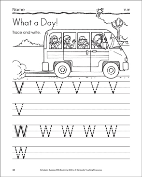What a Day! (Uppercase V, W) - Printable Worksheet