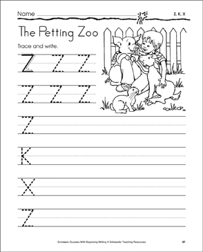 The Petting Zoo - Z, K, X: Tracing and Writing Uppercase Letters - Printable Worksheet
