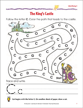 The King's Castle: Identifying Upper- and Lowercase C - Printable Worksheet