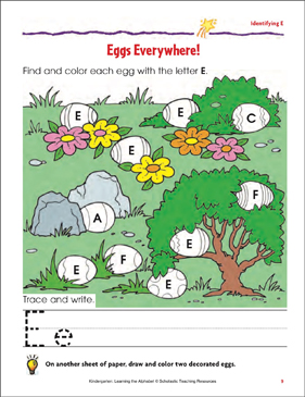 Eggs Everywhere!: Identifying Upper- and Lowercase E - Printable Worksheet