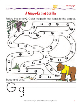 A Grape-Eating Gorilla: Identifying Upper- and Lowercase G - Printable Worksheet