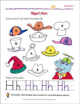 Hippo's Hats: Identifying Upper- and Lowercase H - Printable Worksheet