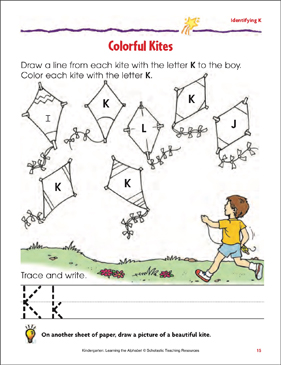 Colorful Kites: Identifying Upper- and Lowercase K - Printable Worksheet