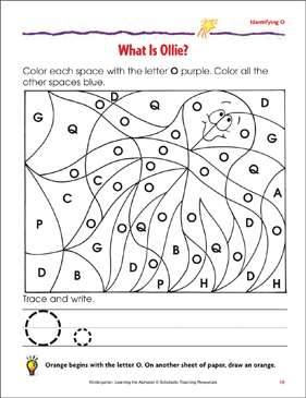 What Is Ollie?: Identifying Upper- and Lowercase O - Printable Worksheet