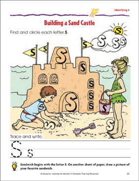 Building a Sand Castle: Identifying Upper- and Lowercase S - Printable Worksheet