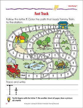 Fast Track: Identifying Upper- and Lowercase T - Printable Worksheet