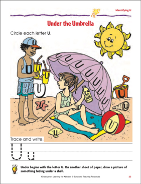 Under the Umbrella: Identifying Upper- and Lowercase U - Printable Worksheet