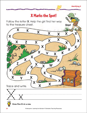 X Marks the Spot!: Identifying Upper- and Lowercase X - Printable Worksheet