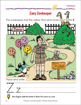 Zany Zookeeper: Identifying Upper- and Lowercase Z - Printable Worksheet