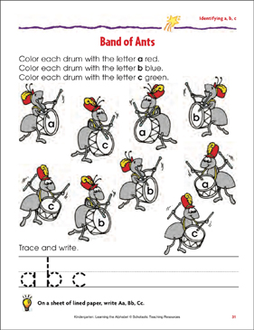 Band of Ants: Identifying Lowercase a, b, c - Printable Worksheet