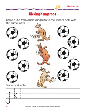 Kicking Kangaroos: Identifying Lowercase j, k, l - Printable Worksheet