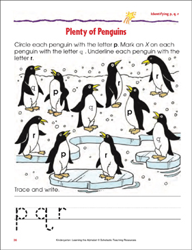 Plenty of Penguins: Identifying Lowercase p, q, r - Printable Worksheet