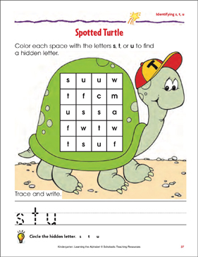 Spotted Turtle: Identifying Lowercase s, t, u - Printable Worksheet