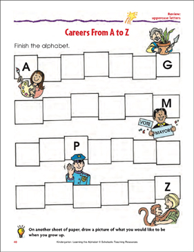 Careers A to Z Review: Uppercase letters - Printable Worksheet