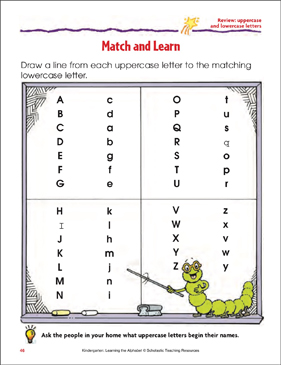 Match and Learn Review: Uppercase and Lowercase Letters - Printable Worksheet