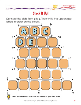 Stack It Up! Review: Uppercase and Lowercase Letters - Printable Worksheet
