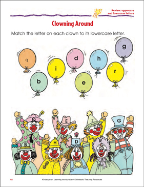 Clowning Around Review: Uppercase and Lowercase Letters - Printable Worksheet