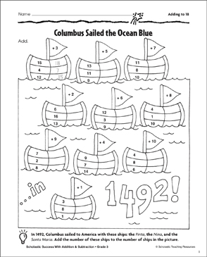 Columbus Sailed the Ocean Blue (Adding to 18) - Printable Worksheet