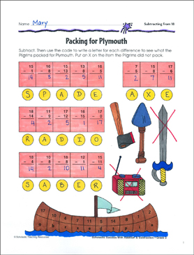 Packing for Plymouth (Subtracting from 18) - Printable Worksheet