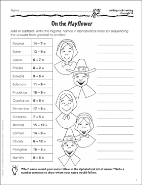 On the Mayflower (Adding/Subtracting through 18) - Printable Worksheet