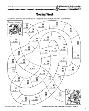 Moving West (Subtract 2-Digits, No Regrouping) - Printable Worksheet