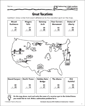 Great Vacations (Subtract/2-Digits/Regrouping) - Printable Worksheet