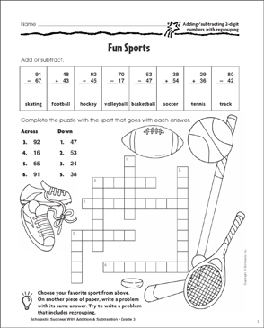 More Fun Sports (Add,Subtract/2-Digits/Regrouping) - Printable Worksheet